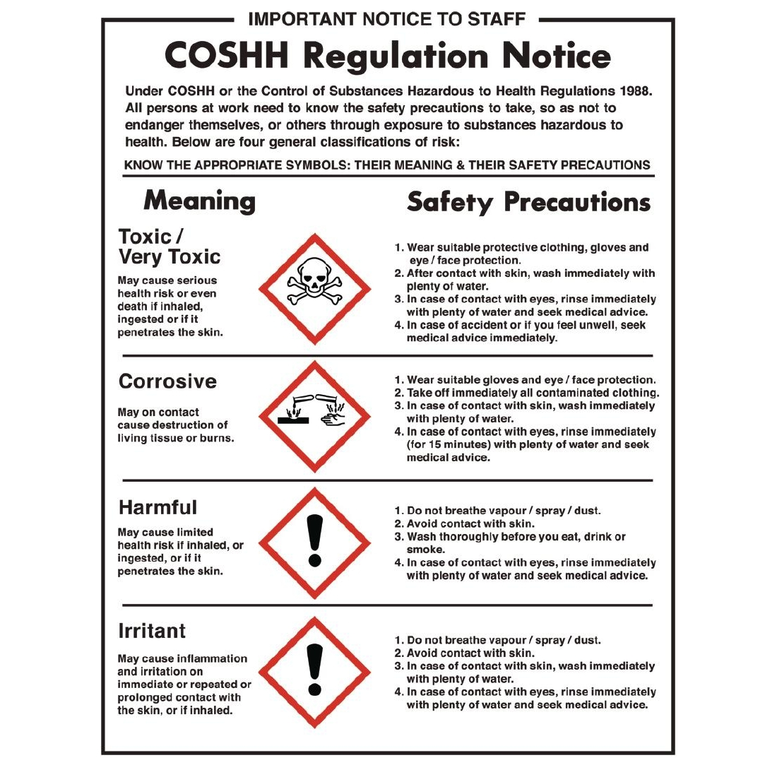 Coshh Regulations Sign Andy Catering Equipment